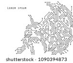 printed circuit board black and ... | Shutterstock .eps vector #1090394873
