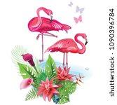 arrangement from tropical... | Shutterstock .eps vector #1090396784