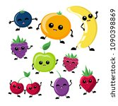 kawaii fruits set  funny... | Shutterstock .eps vector #1090398869