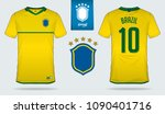Stock vector set of soccer jersey or football kit template design for brazil national football team front and 1090401716