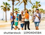 happy friends on seaside walk... | Shutterstock . vector #1090404584