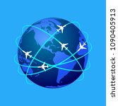 aviation routes around the... | Shutterstock .eps vector #1090405913
