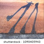 long shadow of a person dancing ... | Shutterstock . vector #1090405943