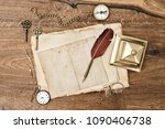 antique office supplies and... | Shutterstock . vector #1090406738