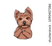 yorkshire terrier dog portrait. ... | Shutterstock .eps vector #1090407386
