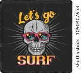 surfing theme t shirt or poster ... | Shutterstock .eps vector #1090407653