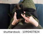 woman using smartphone  close... | Shutterstock . vector #1090407824