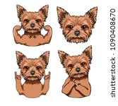 yorkshire terrier set. muscles  ... | Shutterstock .eps vector #1090408670