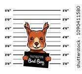 squirrel bad boy criminal.... | Shutterstock .eps vector #1090411580