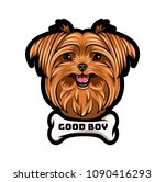 yorkshire terrier dog portrait. ... | Shutterstock .eps vector #1090416293