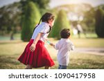 blurred adorable cheerful... | Shutterstock . vector #1090417958