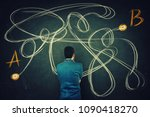 rear view of a puzzled... | Shutterstock . vector #1090418270