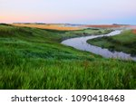foggy summer landscape with... | Shutterstock . vector #1090418468