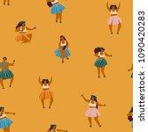 girls playing ukulele and... | Shutterstock .eps vector #1090420283