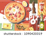 pizza abstract background.... | Shutterstock .eps vector #1090420319