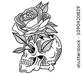 skull tattoo  old school  rose  ... | Shutterstock .eps vector #1090420829