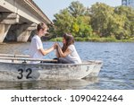 happy young teenage couple  guy ... | Shutterstock . vector #1090422464