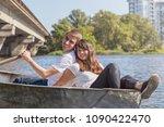 happy young teenage couple  guy ... | Shutterstock . vector #1090422470