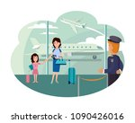 mother and daughter at airport... | Shutterstock .eps vector #1090426016