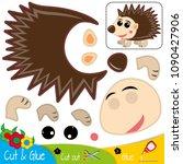 funny hedgehog. education paper ... | Shutterstock .eps vector #1090427906