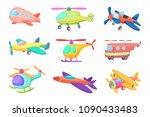 illustrations of aeroplanes in... | Shutterstock .eps vector #1090433483