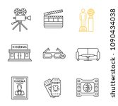 cinema linear icons set. movie... | Shutterstock .eps vector #1090434038
