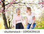 elderly grandmother with crutch ...   Shutterstock . vector #1090439618