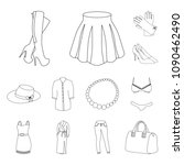 women clothing outline icons in ...   Shutterstock .eps vector #1090462490