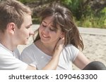 a happy young couple of... | Shutterstock . vector #1090463300