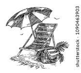 beach chair  umbrella and bag... | Shutterstock .eps vector #1090463903