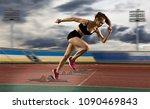 woman sprinter leaving starting ... | Shutterstock . vector #1090469843