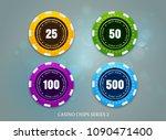 Casino Coins Chip Set On Bokeh...