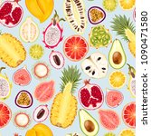 seamless exotic friut | Shutterstock .eps vector #1090471580