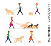people walking with dogs set ... | Shutterstock .eps vector #1090473149