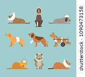 cats and dogs get sick  injured ...   Shutterstock .eps vector #1090473158