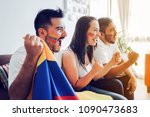excited colombian soccer fans... | Shutterstock . vector #1090473683