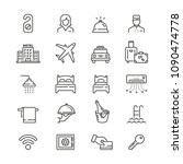 hotel related icons  thin... | Shutterstock .eps vector #1090474778