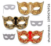 carnival masks  gold  red and... | Shutterstock .eps vector #1090476926