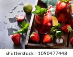 strawberry lemonade drink ... | Shutterstock . vector #1090477448