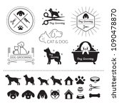 Stock vector pets cats and dogs logos symbols 1090478870
