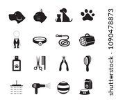 pets grooming shop icons  black ... | Shutterstock .eps vector #1090478873
