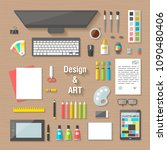 workplace collection concept...   Shutterstock . vector #1090480406