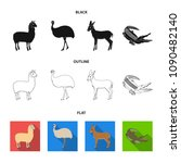 lama  ostrich emu  young... | Shutterstock .eps vector #1090482140