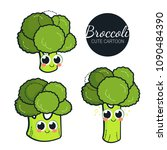 cute broccoli characters.... | Shutterstock .eps vector #1090484390