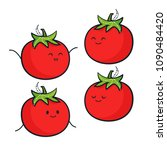 cute tomato characters. vector... | Shutterstock .eps vector #1090484420
