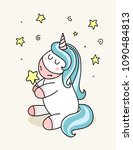 fantasy cute unicorn with funny ... | Shutterstock .eps vector #1090484813