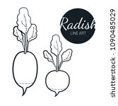 radish linear graphic design.... | Shutterstock .eps vector #1090485029