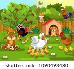 Stock vector courtyard with farm animals and their babies 1090493480
