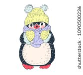 winter illustration with funny... | Shutterstock .eps vector #1090500236