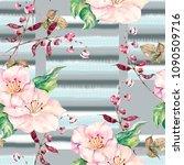 watercolor gelicate flowers on... | Shutterstock . vector #1090509716